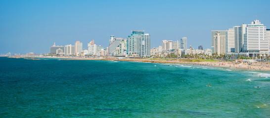 Views of  Mediterranean sea and promenade of Tel Aviv