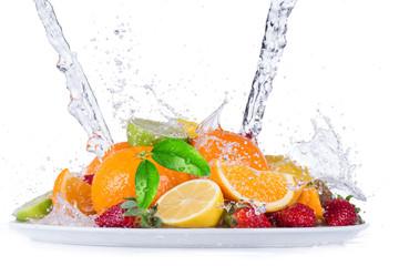 Fototapeta Fruit with water splash