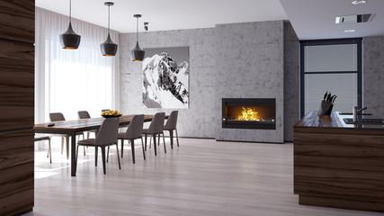 Интерьер кухни и гостиной комнаты