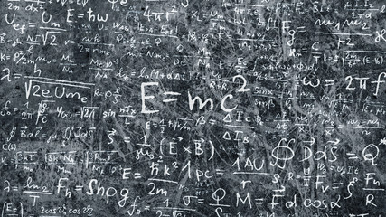 Maths and science formula on chalkboard