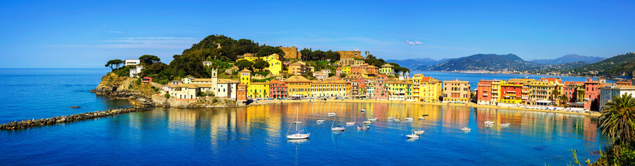 Sestri Levante, silence bay sea and beach panorama. Liguria, Ita