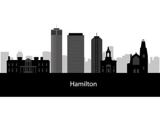 Hamilton, Canada skyline. Detailed silhouette. Vector illustrati