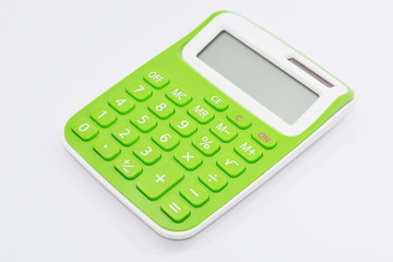 Green calculator isolated white background.