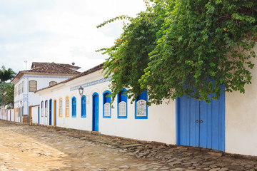 Street, old portuguese colonial houses in Paraty, Brazil