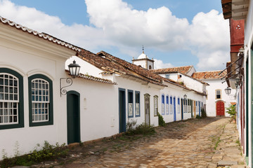 Old portuguese colonial houses and church in historic downtown o