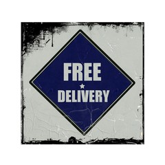 Free delivery white stamp text on blue black background