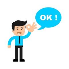 Businessman giving an OK sign