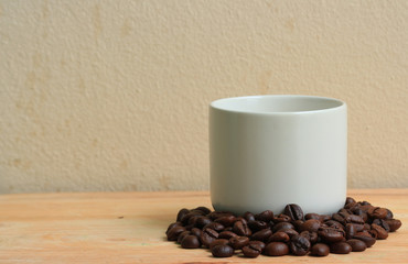 Coffee ,beans on wood background