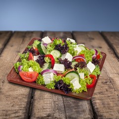 Wall Mural - Black. Salad. Mediterranean Salad with Feta Cheese, Tomatoes and