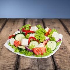 Appetizer. Fresh vegetable salad isolated on white background