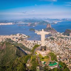 Aerial view of Christ and Botafogo Bay, Rio de Janeiro