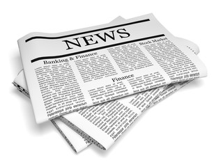 Newspaper. 3D. Pack of Folded Newspapers