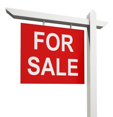 Real Estate Sign. 3D. For Sale Sign