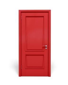 Door. 3D. Closed red door