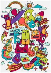 Cute crazy doodles life vector illustration. Design Elements