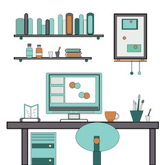 Home workplace flat vector design. Workspace for freelancer or