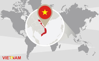 World map with magnified Vietnam