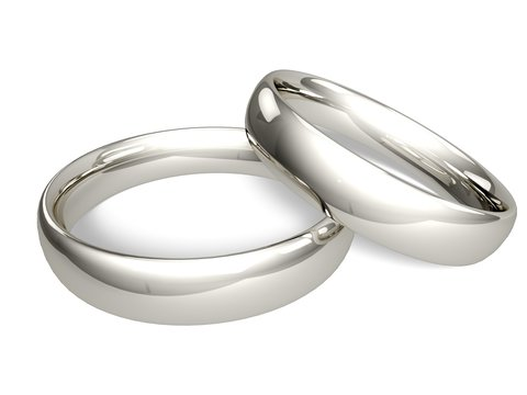 Wedding Ring. 3D. Two Platinum or Silver Wedding Rings -