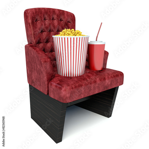 3d illustration  popcorn on theater seat  cinematography