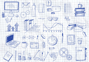 Hand drawn set of various bussiness icons