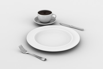 Dinner Plate, Knife, and Fork, coffee cup