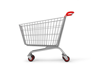 Original empty shopping cart, side view, isolated on white backg
