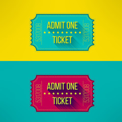 Entry ticket in modern flat design with long shadow. Admit one