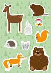 zwerzęta leśne- zestaw naklejek dla dzieci
