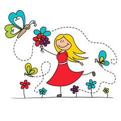 Cartoon girl dancing with butterflies drawing illustration