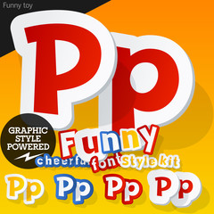 Font in shape of funny toys or cartoon elements. Letter P