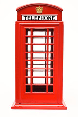 Red phone booth isolated on white background