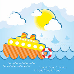 Ship at sea on a sunny day