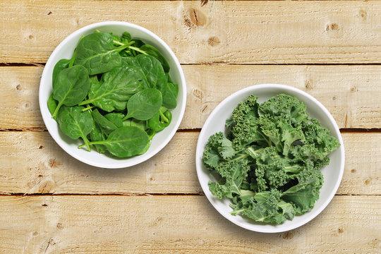 Bowls of leaf vegetables