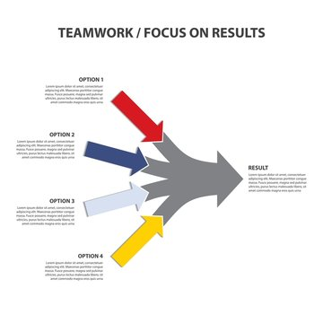 Focus on Results, Converging Arrows, Vector Infographiс