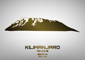 Outline vector illustration of bronze Mt. Kilimanjaro