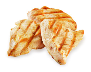 Prepared chicken meat. Breast fillet slices isolated. Clipping p