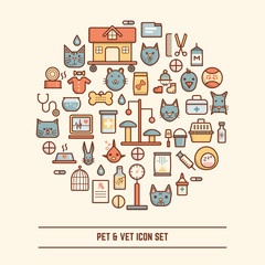 pet and vet icon set