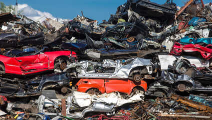 pile of used cars, car scrap yard