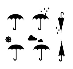 Set of Silhouette Umbrella with season