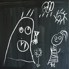 Message on a blackboard