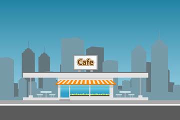 Cityscape with cafe building. Flat illustration.