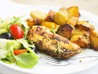 Roasted Chicken Breast with Sweet Potatoes and Salad Garnish