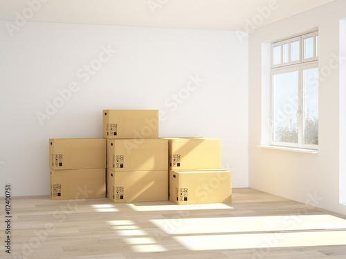 ein raum mit umzugskartons 3d rendering stock photo and royalty free images on. Black Bedroom Furniture Sets. Home Design Ideas
