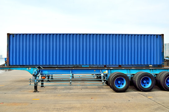 Cargo container and semi trailer chassis, chiba, Japan