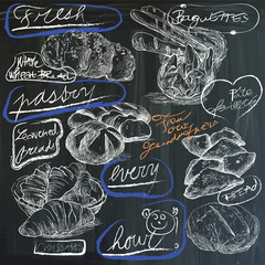 food, pastry - hand drawings on blackboard, pack