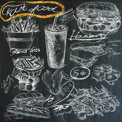 fast food - hand drawings on blackboard, pack