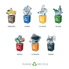 Trash Segregation Bins for Organic Paper Plastic Glass Metal