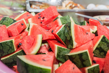 Fresh slices of red watermelon