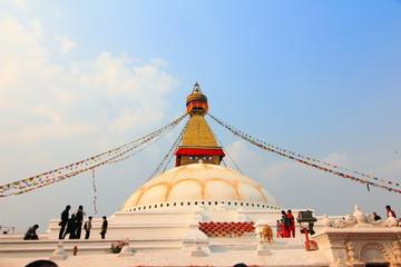 Sunset at the boudhanath stupa kathmandu nepal