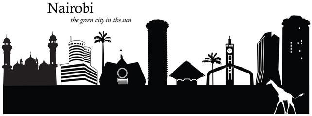 Vector illustration of cityscape of Nairobi, Kenya
